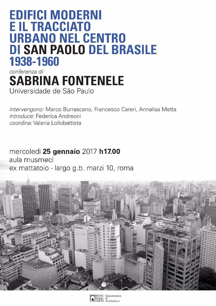 architettura roma tre conferenza locandina arquitetura paulista são paulo federica andreoni e valeria lollobattista