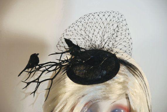 Black Crow Fascinator Hat with Birdcage Veil - Ravens on Black Branch     $35