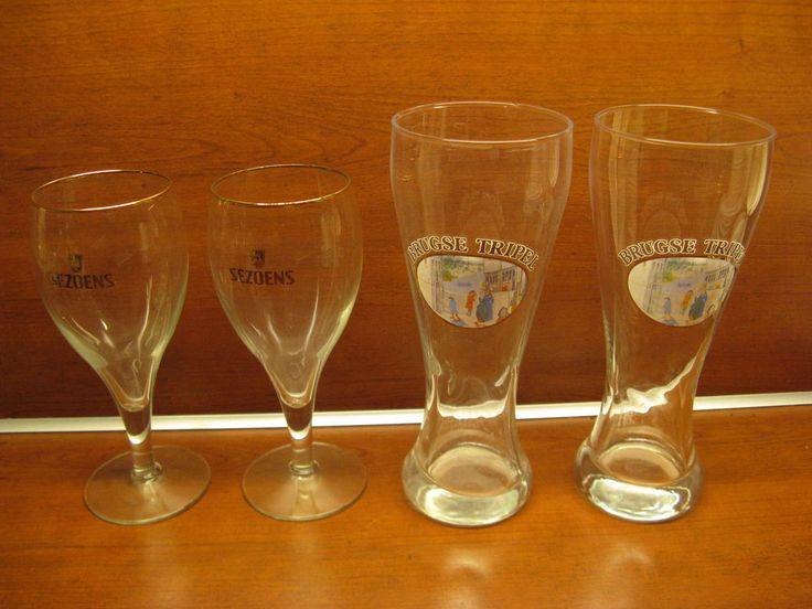 For Sale: 2x original glasses Sezoens Quattro with golden rim; 2x Brugse Tripel