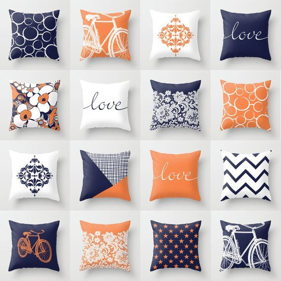 Orange Navy Blue White Throw Pillow Mix And Match Indoor Etsy Pillow Mixing White Throw Pillows Blue And Orange Living Room