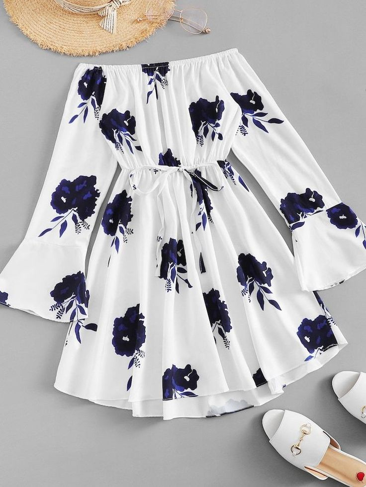 Cheap flounce sleeve drawstring waist floral dress for