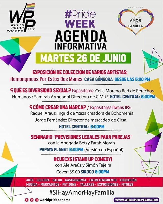 Quehaypahoypanama Jun26 Worldpridepanama Agenda Para Hoy 26 De Junio Para Los Foros Y Seminarios Pueden Inscribirse En El Enlace Del Perfil Pridew