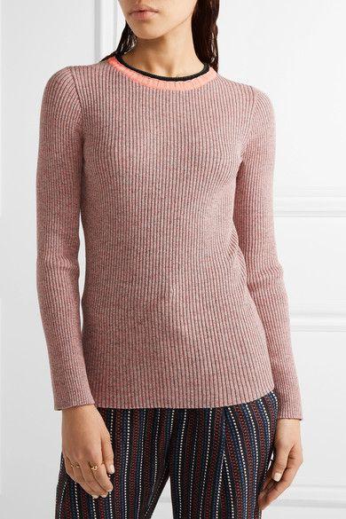 APIECE APART - De Colores Mélange Ribbed-knit Cotton Sweater - Pink - x small
