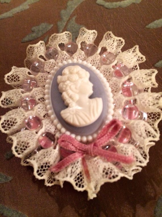 Handmade Cameo Brooch Esconced In Lacey Beaded by MKAuthentic
