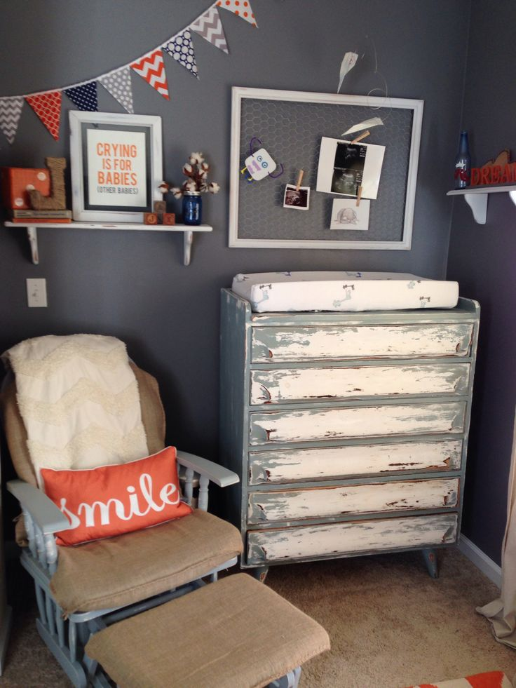Our eclectic/ vintage baby boy nursery