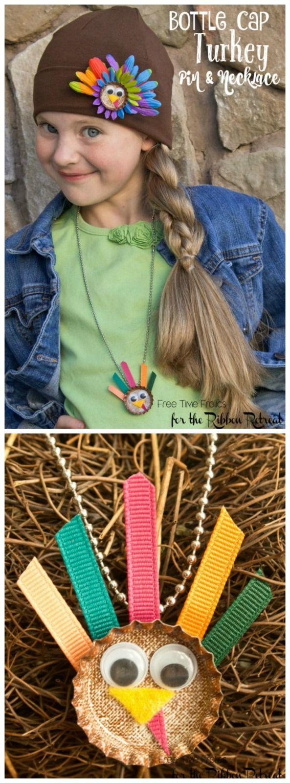Bottle Cap Turkey Pin & Necklace - The Ribbon Retreat Blog