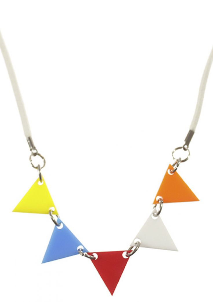 Let Your Flag Fly necklace for kids in laser cut acrylic.