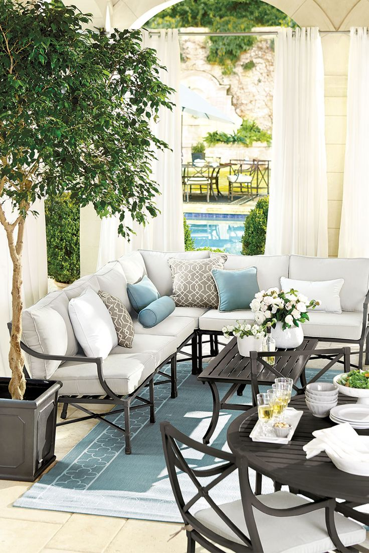 An outdoor sectional makes better use of space if you've got a tight corner you want to make the most of. With one corner open, traffic can easily flow through the space.