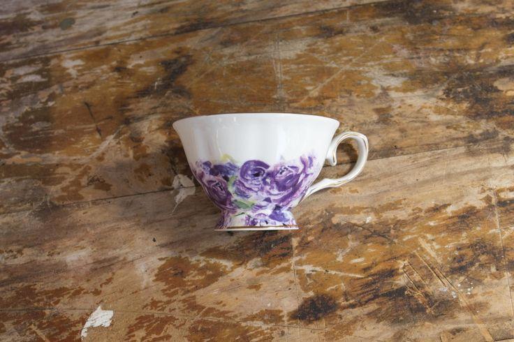 Purple Blossom Teacup and Saucer