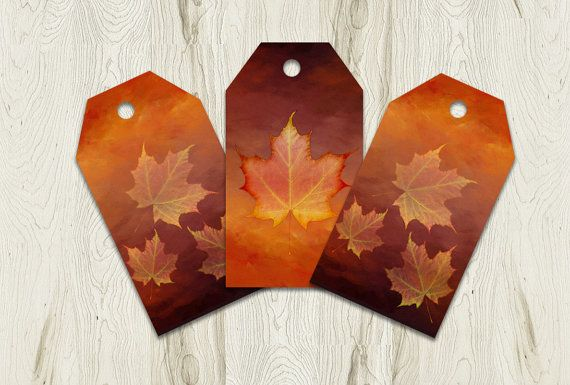 Printable Fall Tags Autumn Gift Tag Set by PlayfulPixieStudio