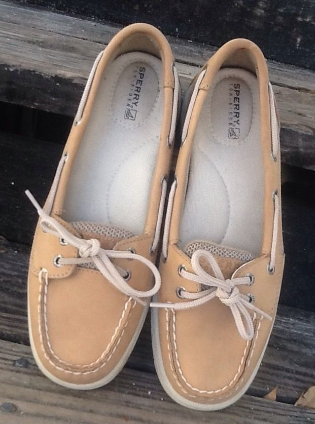 Sperry Topsider Ladies Boat Shoes in Tan Oatmeal Mesh 2 Eyelet 7.5M VGC! in Clothing, Shoes & Accessories, Women's Shoes, Flats & Oxfords | eBay