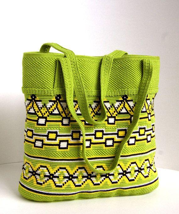 Crochet handbag bag  Original green totes bag