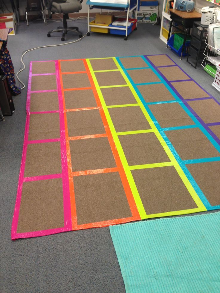 Diy classroom management rug i used different color duct for Classroom rug