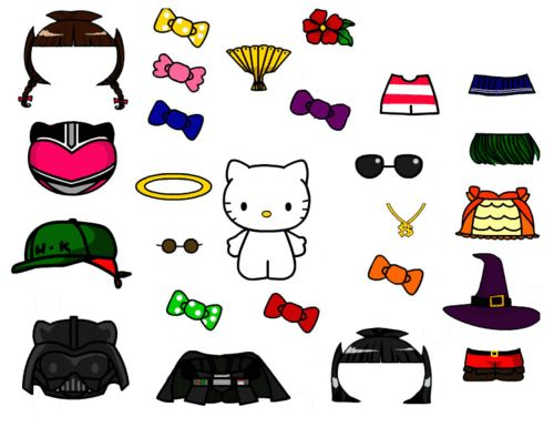 Cute hello kitty paper doll template free download for Cute papercraft templates