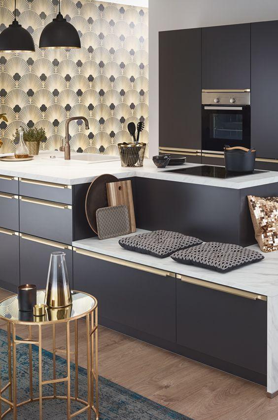Golden 20ies Art Deco Kücheninsel