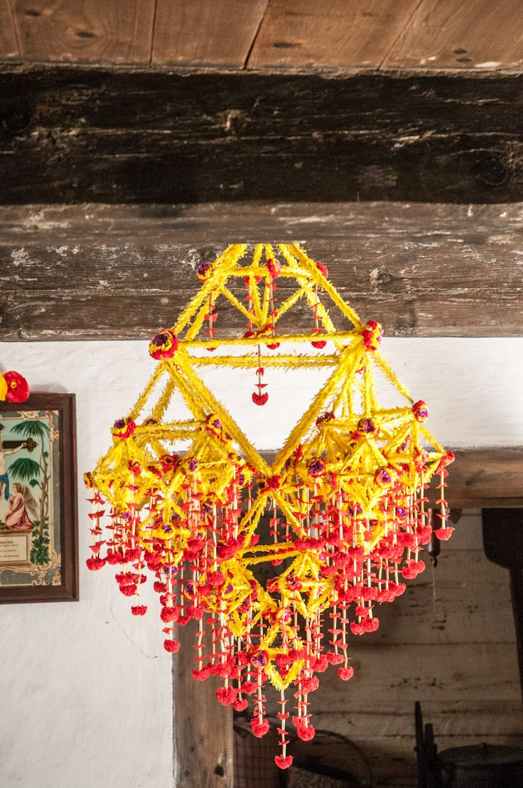 """Pająk - traditional decoration made from paper and straws. In different regions of Poland are different kind of """"pajak"""". This photo was made in the museum of village in Sierpc."""