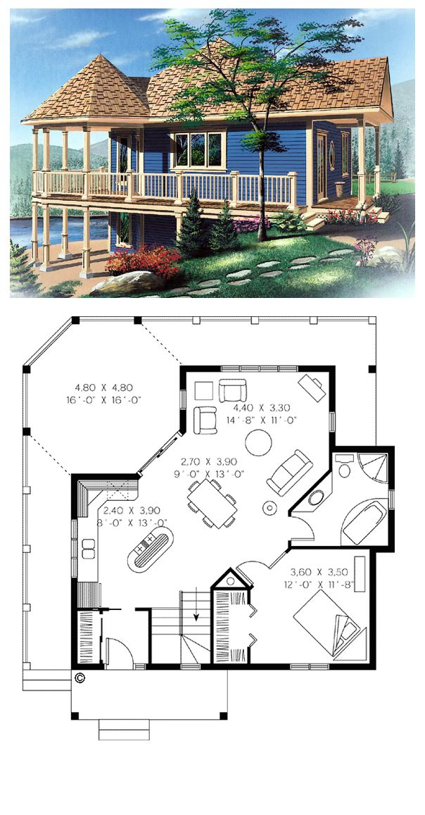 House Plan 65263 | Total living area: 840 sq ft, 1 bedroom & 1 bathroom. An exit from the basement and located just below the arbor allows for the possibility of a sheltered patio space at that level.