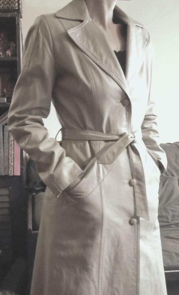 Manteau trench coat femme blanc/gris très clair vintage années 70 taille S7XS   eBay