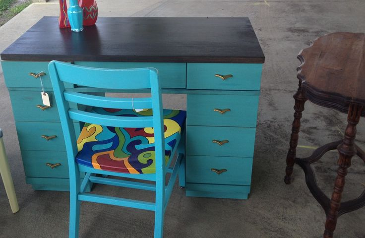 turquoise distressed and dark walnut stained desk