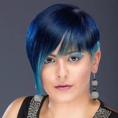 blue hair dye tips black brown hair