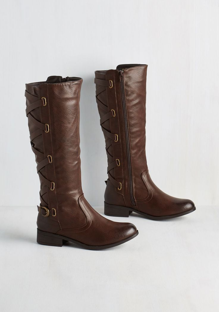 Nature Walk This Way Boot. The moment you zip into these rich brown boots, you can nearly hear the wildflowers calling you out to play! #brown #modcloth