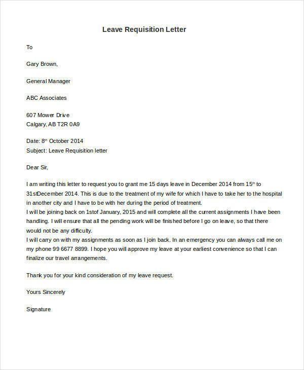 Leave Requisition Letter Lettering Letter Sample Letter After
