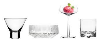 Iittala - Aarne cocktail glass, Ultima Thule bowl on foot, Essence dessert bowl, Gaissa drink glass Finland