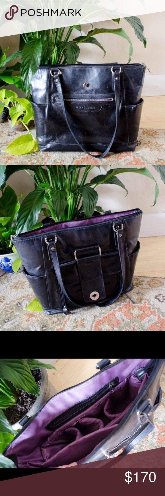 KELLY MOORE black camera bag purse tote Comes with all original accessories, such as the camera equipment slide in. It's in great condition for being nearly 3 years old, and I always get compliments on the brown bag I have -- people constantly asking where I get it! It's a larger bag, about 18 inches at it's widest point - great for using as a diaper bag on trips or something like that. It's very versatile!   Originally $290.00 Kelly Moore Bags Laptop Bags