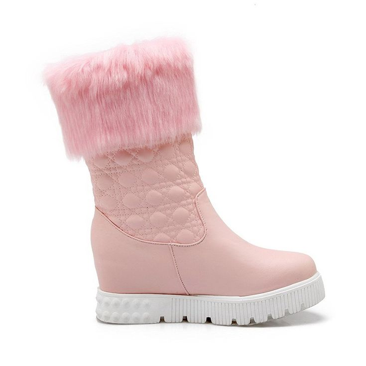 Women's PU Low-Top Solid Pull-On Low-Heels Boots Pink 35