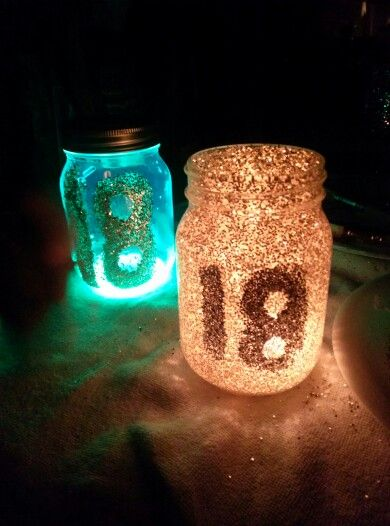 Just made my glitter and glow mason jars for my big 18 bonfire!