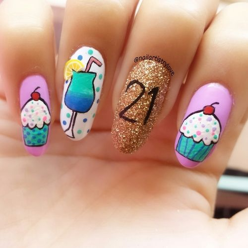 Birthday Cake Nails: Happy 21st Birthday Nail Art With Glitter!