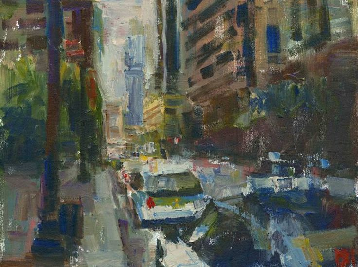 "Saatchi Art Artist Darren Thompson; Painting, ""Row of Taxis Chicago"" #art"