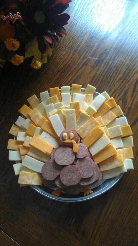 Cheese and summer sausage Thanksgiving platter
