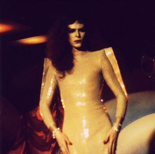 "Bowie in drag, from the ""Boys Keep Swinging"" video."