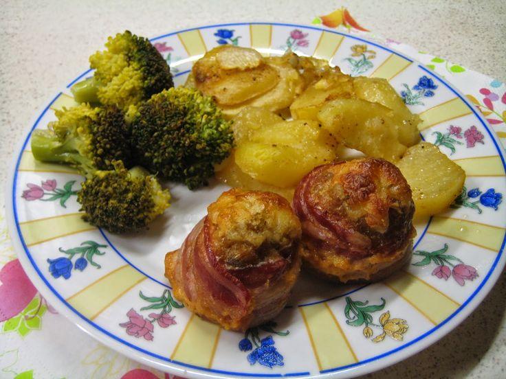 Ildikó konyhája: Fasírt muffinformában sütve - párolt brokkolival és hagymás krumplival