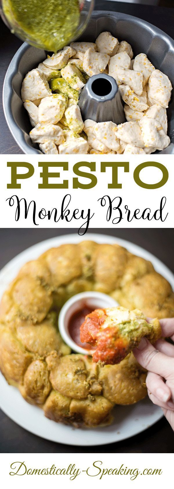 Pesto Monkey Bread served with warm marinara sauce | great appetizer | Easy party food