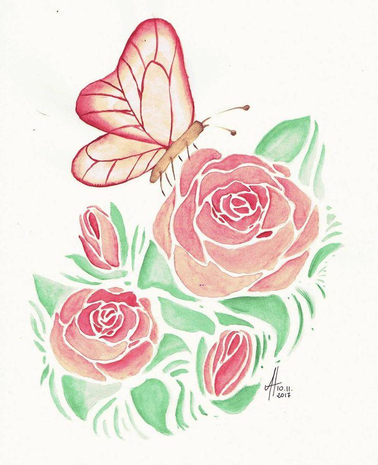 "Polubienia: 19, komentarze: 1 – Aleksandra H. (@milka5171) na Instagramie: ""#watercolor #roses #rose #illustration #painting #art #instaart"""