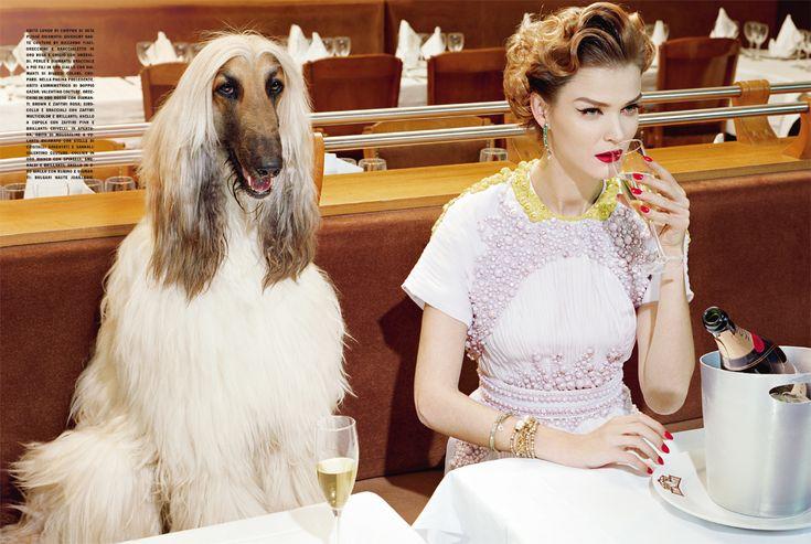 Carmen Kass poses for 'A Precious Glam', Vogue Italia, March 2011