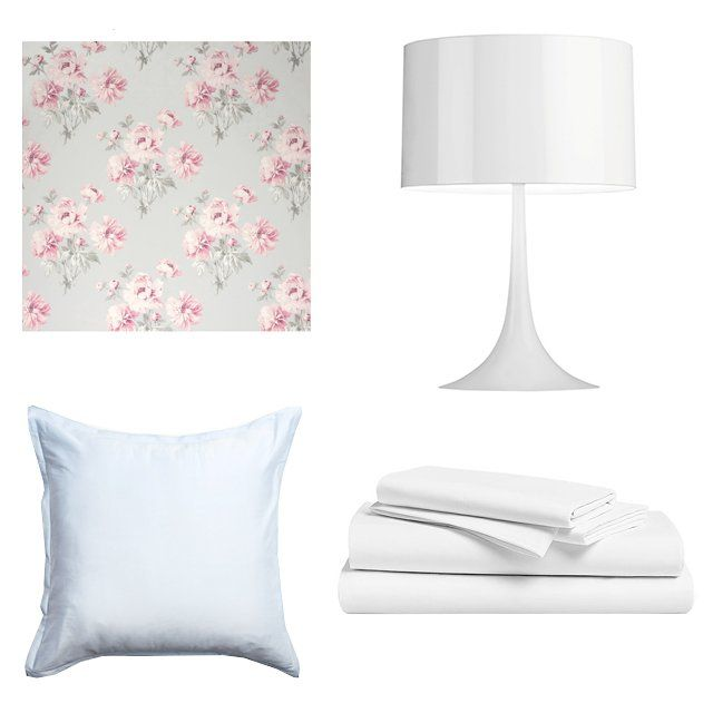 Vogue.com | Why Decorating Your Apartment Is the Best Post-Breakup Therapy | Laura Ashley Beatrice Cyclamen wallpaper, $46, goingdecor.com; France & Søn Spun table lamp, $249, franceandson.com; Brooklinen Classic Core sheet set, $109 for queen size, brooklinen.com; Parachute sateen Euro sham, $40, parachutehome.com