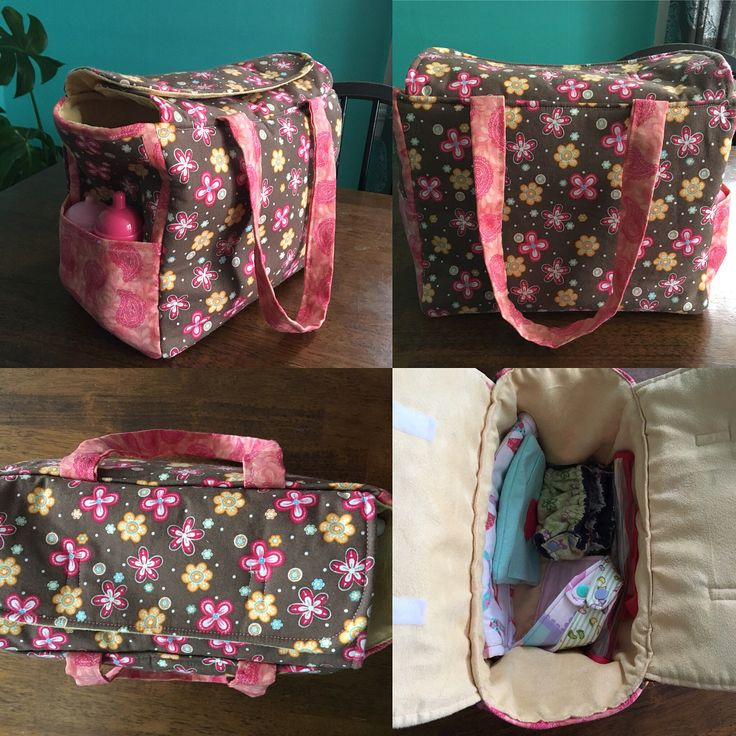 Beautiful dolly diaper bags compleate with diapers change pad wipe case with wipes and bibs; all of which my mom made for the girls this year #homemade #madewithlove #dollaccessory #nanny #grandma #christmasgift