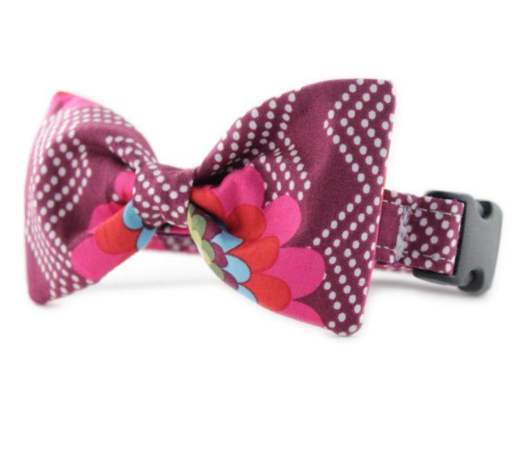 Purple Bow Tie Dog Collar - Raspberry Splash Bow Tie Dog Collar - Purple Chevron Tiny Dot Bowtie Dog Collar - fuchsia bow tie dog collar