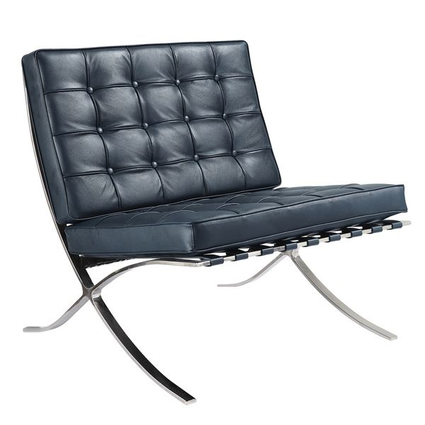 Navy Blue Italian Leather Lounge Chair   Overstock™ Shopping   Great Deals  On Living Room