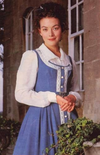 """This picture of Molly's jumper  shows it to be blue but I believe the real version is green. I like this shot 'cause it shows the design better. Molly Gibson from the BBC 'Wives and Daughters"""".: Elizabeth Gaskel, Periodic Dramas, Movies, Outfit, Dresses, Elizabethgaskel, Molly Gibson, Daughters, Justin Waddel"""