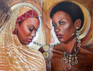 Title - Elegant Africa 2  Medium - Oil on stretched canvas  Size -  61cms x 46cms  Available at the Art Beat Gallery, Woodmead, Sandton