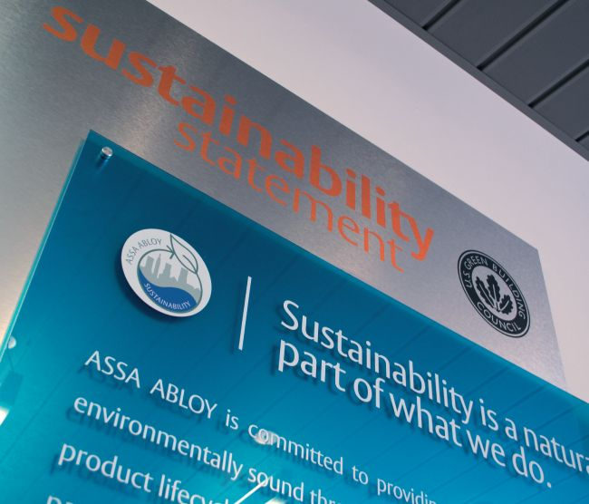 ASSA ABLOY's commitment to promoting sustainability-related design criteria in product development reduces  life-cycle costs and creates value for its customers.