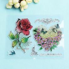 1 UNID Scrapbooking DIY Álbum de Tarjetas Sellos de Caucho de Silicona Transparente Claro Flor de Rose Artesanía Arte de DIY Herramientas(China (Mainland))