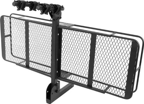 """2"""" Class III/IV Hitch Cargo Basket with Flip-Up 2-Bike Carrier Rack Great for carrying cargo with a 2"""" vehicle hitch receiver, folds up for transporting bicycles. Cargo carrier basket measures 60""""L x 19.75""""W. Flip-Up 2-Bicycle rack includes (6) rubber tie-down straps and (4) thick rubber cradles. Safety pin configurations locks carrier rack in either bicycle or cargo mode. Heavy duty steel construction with a black paint finish."""