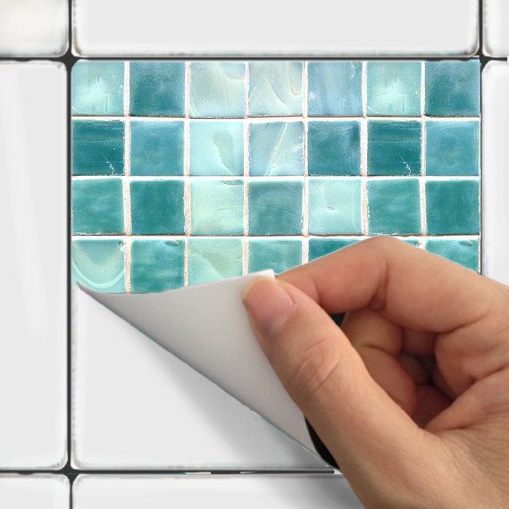Wall Tile Decals Vinyl Sticker WATERPROOF Tile or Wallpaper for Kitchen Bath :  Mosaic MS011