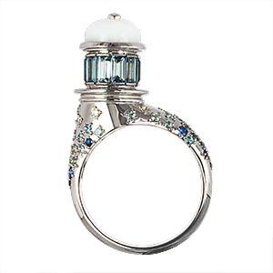 Кольцо из белого золота | бриллианты, аквамарины, кахалонг | ЮБ Роскошь