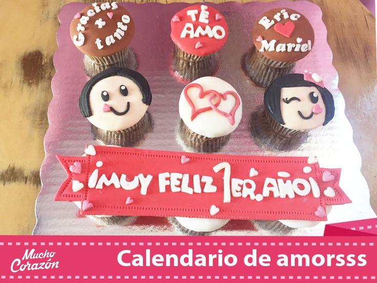 Cupcakes en fondant para los novios, feliz primer aniversario ♥  #MuchoCorazón #ReposteríaCasera